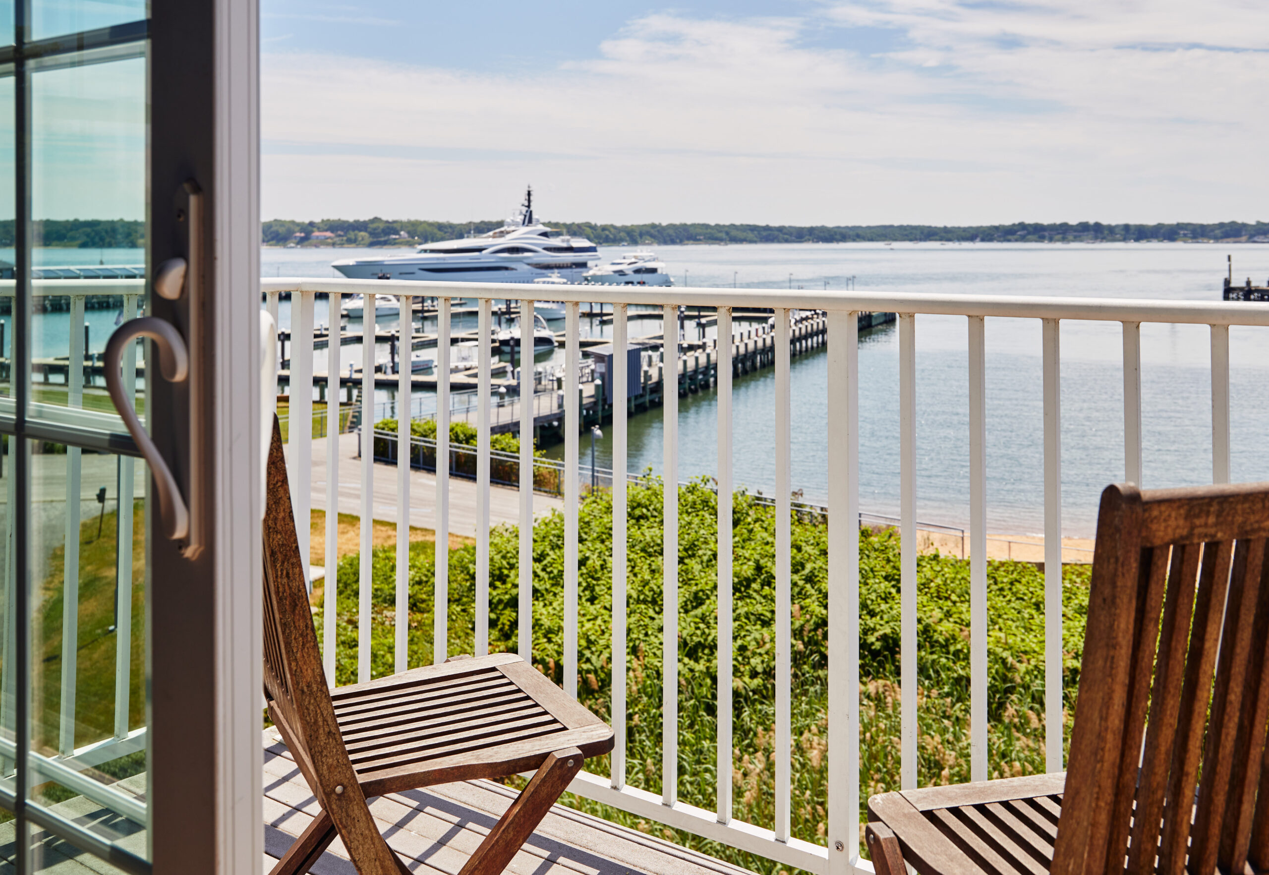 Balcony view overlooking Peconic Bay