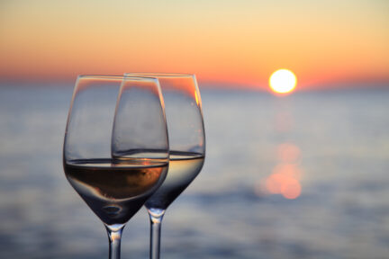 Sunset Glasses of Wine